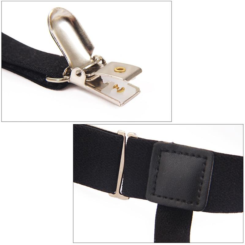 2 Pcs Men Shirt Stays Belt with Non-slip Locking Clips Keep Shirt Tucked Leg Thigh Suspender Garters Strap LL@17 5