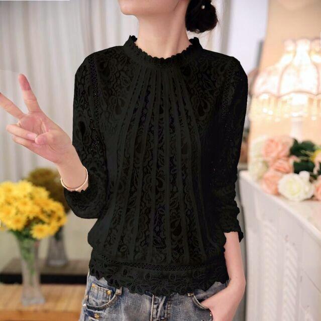 Новая модная летняя женская белая однотонная элегантная повседневная женская шифоновая рубашка с длинным рукавом Блузка кружевная женская одежда Топ 51C - Цвет: 513 BLACK