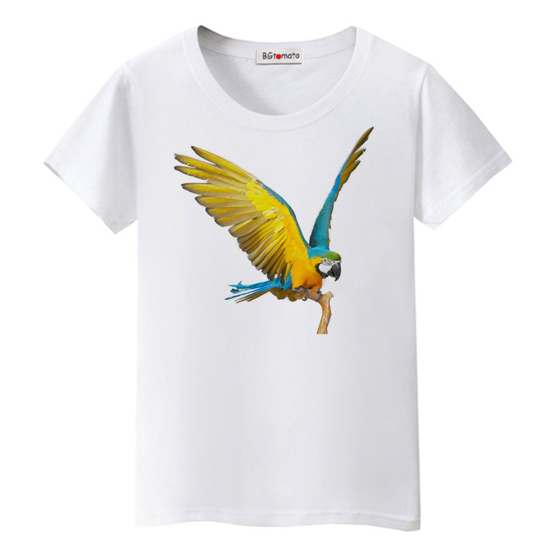 Small to 5XL All Colors Lot Black T-Shirt Macaw Parrot on a White Parrot