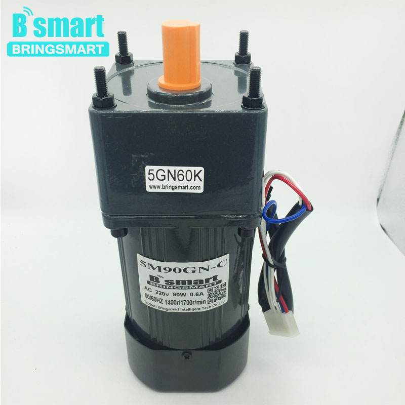 Bringsmart 220V AC 90W Speed Regulation AC Geared Motor Reducer Induction Motor+Speed Controller Reversible Adjustable Speed аксессуар для музыкальных инструментов denn стойка для синтезатора dks001