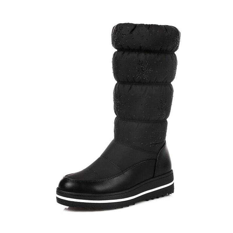 Neige Hiver Bottes De Scarpe Invernali Femme 2018 Noir Plate Femmes Donna Nouvelle forme bleu Chaussures azxPw7qcCE