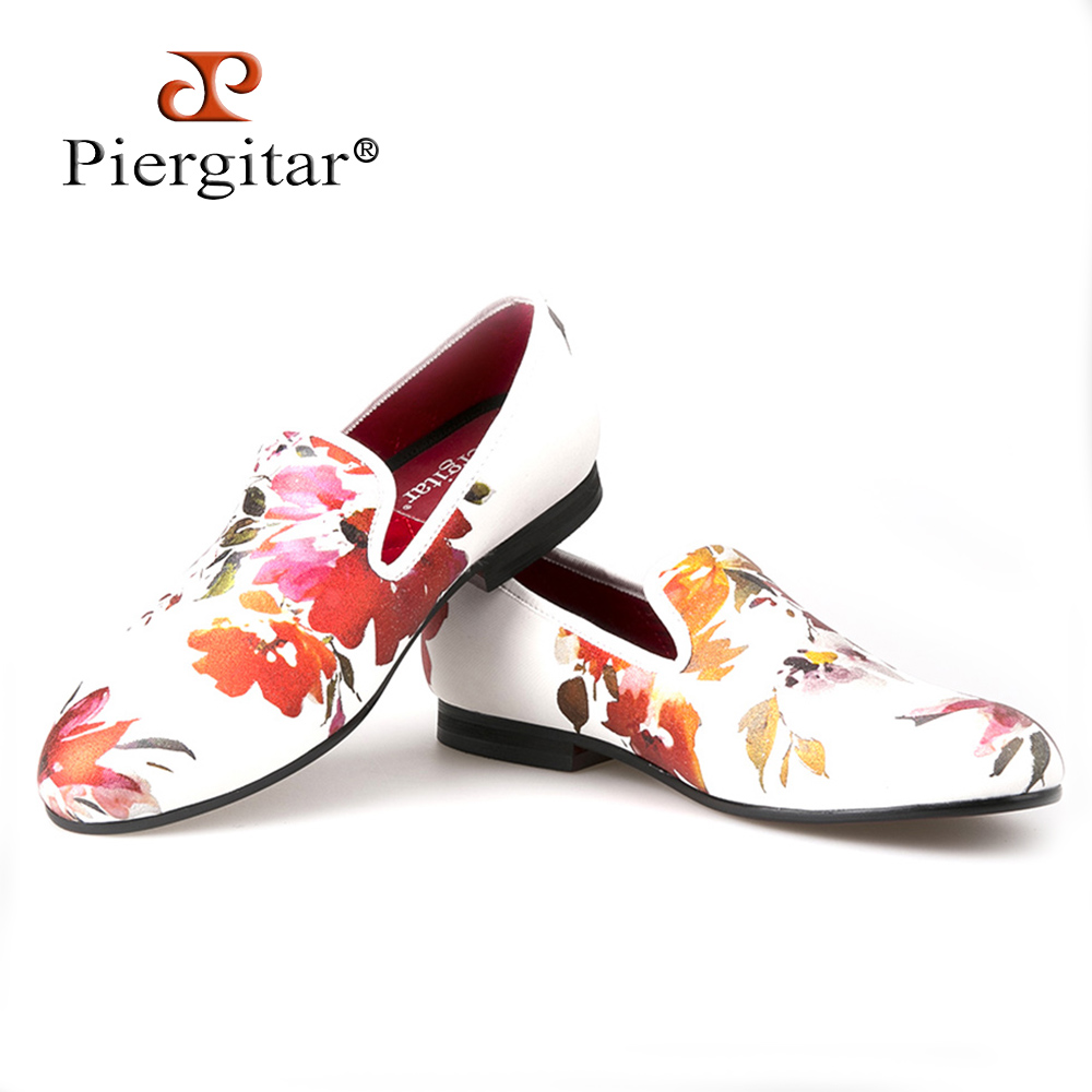 ФОТО Piergitar Chinese style Printing flowers Men Cloth shoes Men Wedding and Party Loafers Men's Flats Size US 6-14 Free shipping