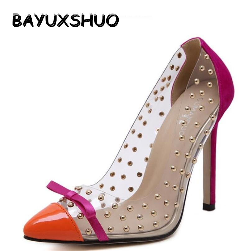 BAYUXSHUO Rivets High Heels New Transparencies High Heels Brand Shoes Pointed Toe Women Pumps Sapato Feminino Shoes Plus Size new 2017 spring summer women shoes pointed toe high quality brand fashion womens flats ladies plus size 41 sweet flock t179
