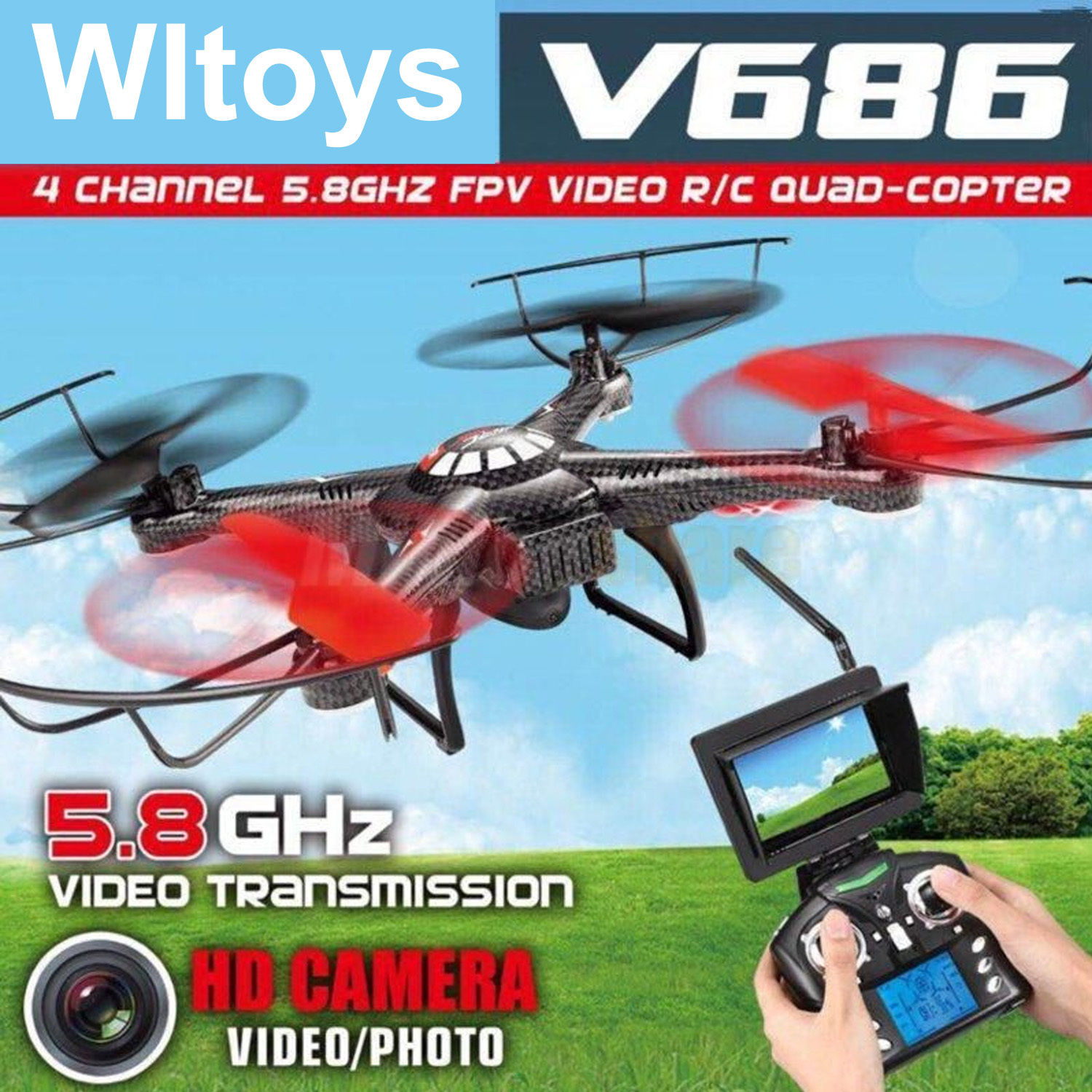 Hot Sale FPV RC Drones With Camera HD Professional Dron Quadcopters Remote Control Flying Camera Toy Helicopter Wltoys V686