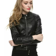 New Arrival! 2015 Autumn Winter Leather Jacket Women Coat Solid Collar Waist Slim Thin Ladies Leather Jackets Free Shipping