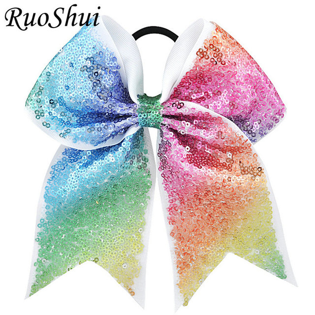 7 Inch Sequin Cheerleading Hair Bow Glitter Grosgrain Ribbon Bows Elastic Band Ponytail Hair Holder For Girls/Women Accessories
