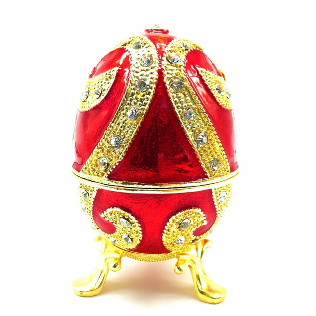 Qifu new fashion easter metal crafts gifts red faberge egg trinket qifu new fashion easter metal crafts gifts red faberge egg trinket box egg shaped jewelry box negle Images