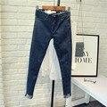 2017 Vintage Ripped Invierno Primavera Dama de La Moda Elástico de Cintura Alta Mujeres Jeans de Azul Oscuro Lápiz Pantalones de Garantía de Calidad MP017