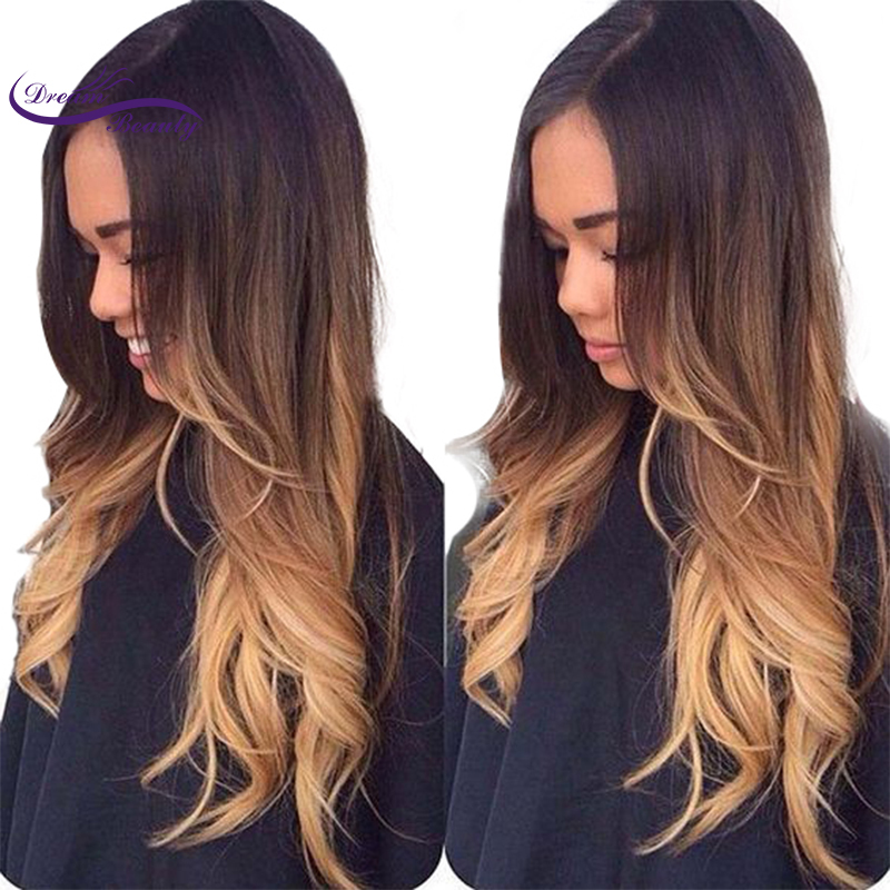 Dream Beauty Lace front Human Hair Wig Remy peruvian wavy Hair 130 Density Ombre Color 3T