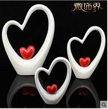 цена на ceramic statue home decor crafts room decoration ceramic heart and heart ornament porcelain figurines wedding decorations