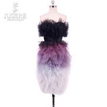 Jusere 2019 Sexy Fading Purple Off Shoulder Sleeveless Homecoming Dresses  Ruffles Skirt Knee Length Prom Dress