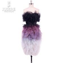 Jusere 2019 Sexy décoloration violet épaule dénudée sans manches robes de retour volants jupe longueur genoux robe de bal