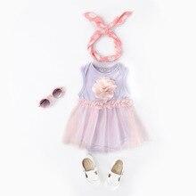 Bodysuit Baby Girl Clothes Summer Infant Ball Grown Cotton Newborn Dress Romper 2pcs/Set + Headband