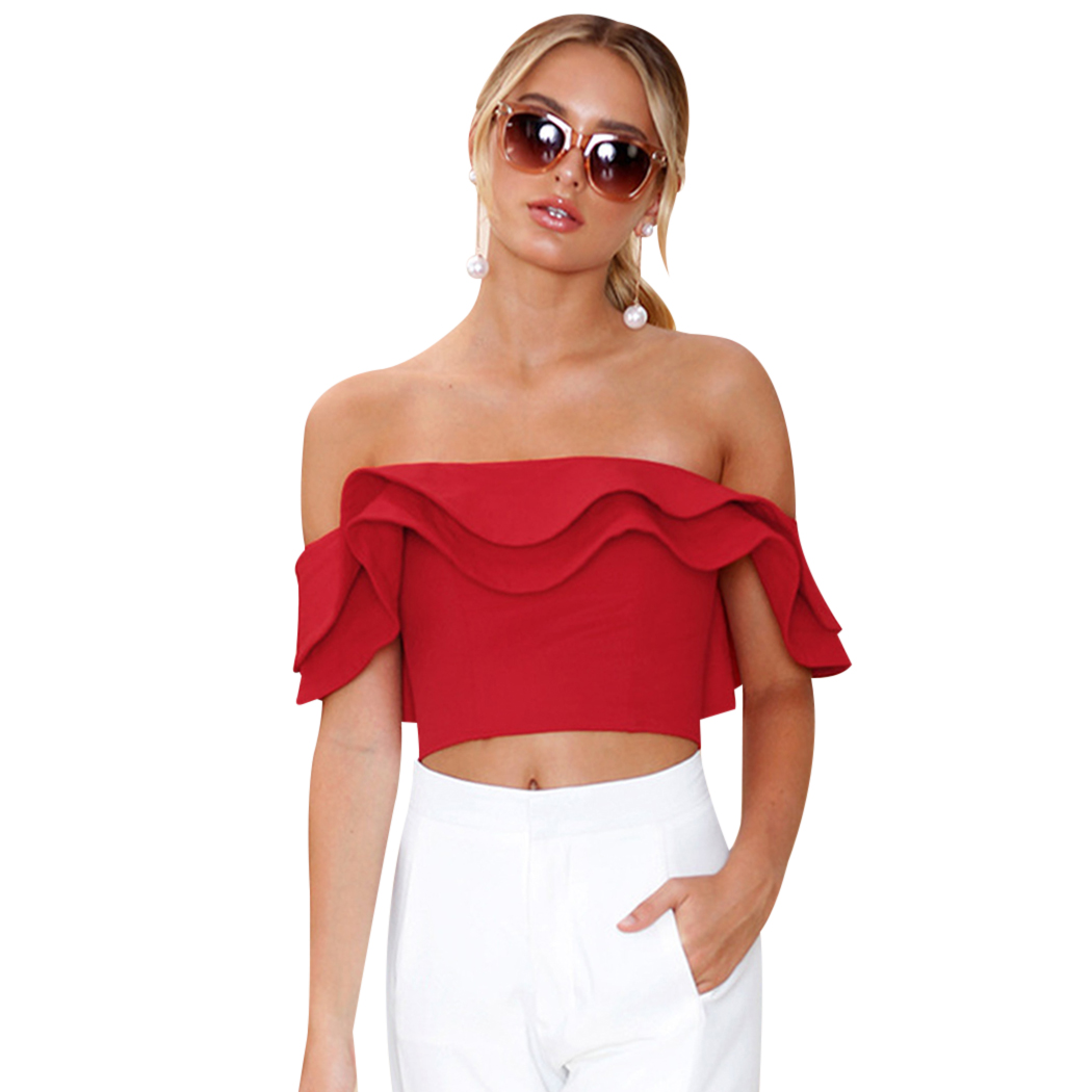 Sexy Summer Crop Tops Women Blouse Fashion Ruffles Off The Shoulder Blouse Ladies Party Cloth f3
