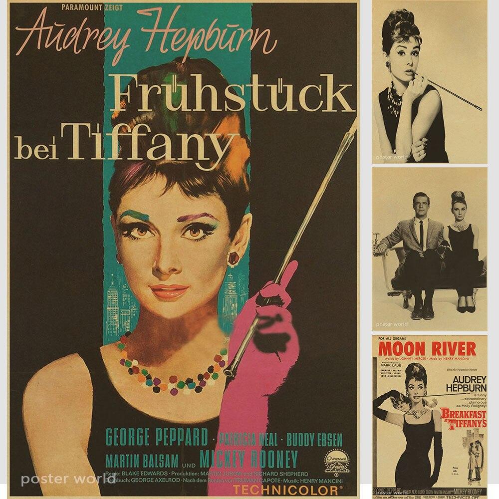Retro Poster Vintage Retro Matte Kraft Paper Antique Poster Wall Sticker Home Decora Audrey Hepburn Movie Poster Various Styles Home & Garden Painting & Calligraphy