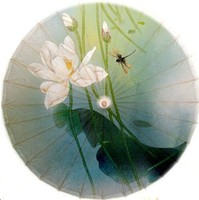 Dia 84cm white lotus in breeze painting oiled paper umbrella waterproof and anti UV handmade decoration umbrella