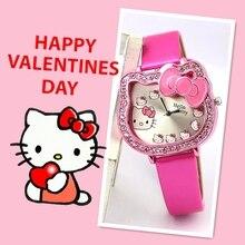цена на Cartoon children student KT cat belt quartz watch Hello Kitty children girls love fashion watches.
