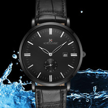 AOKULASIC Mens 2019 Top Luxury Brand Leather Watch Band Super Thin Case Waterproof Quartz Watch Men Wrist Watch(China)
