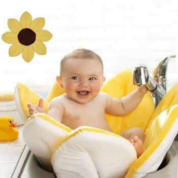 Baby Bathtub Newborn Foldable Flower Blooming Bath Tub Baby Anti-slip Blooming Sink Bath For Toddler Bath Sunflower Cushion Mats 1