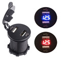 DC 12-24V 4.2A Dual USB Port Phone Charger Quick Charge Blue red LED Voltmeter for Cars Motorcycles ATV,RV,SUV,Boat High Quality