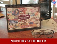 2018 new monthly / weekly / daily planner , vintage appointment book as weekly planner scheduler with one sheet stickers