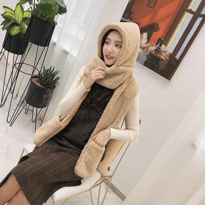 ZDFUR Hat женский осенний и зимний шарф перчатки цельная Корейская версия прилива диких студентов зимняя Толстая теплая шапка зима