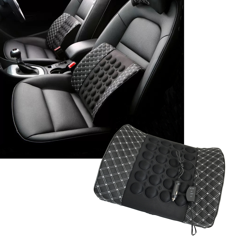 JEAZEA Car PU Leather Massage Waist Mat Cushion Seat Support Electric Cars Lumbar Adjustable Back Pillow Cushion DC12V