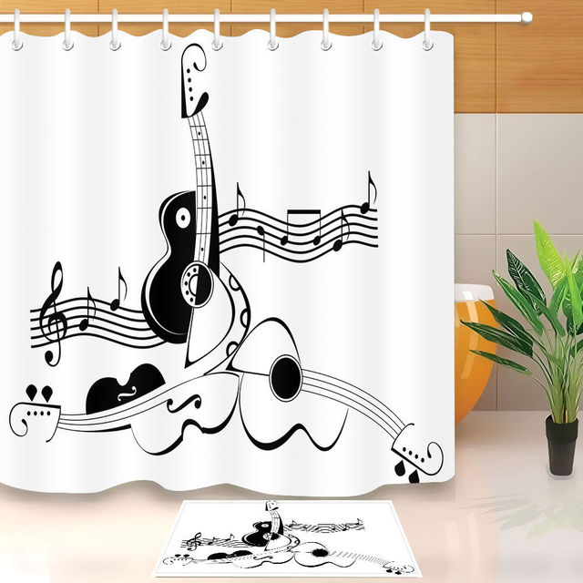 Abstract Guitar Music Bathroom Shower Curtain Set Waterproof Polyester Fabric Curtains Hooks Mat Black White