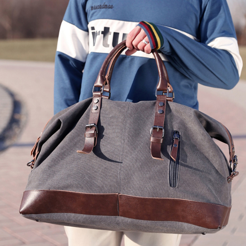 5e8085e857 Fashion Wohlbag Canvas Leather Men Travel Bags Carry on Luggage Bags Men  Duffel Bags Travel Tote Large ...