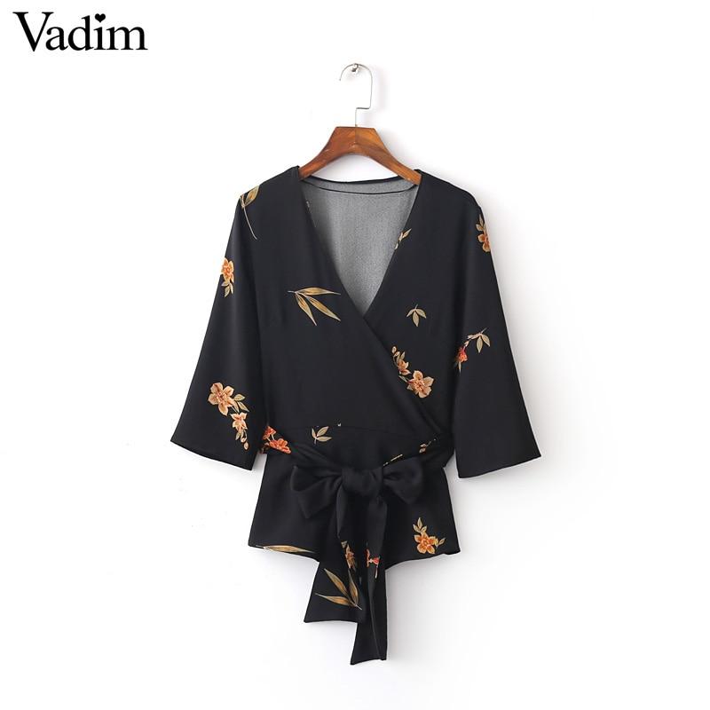 Women sweet V neck kimono loose floral blouses bow belt half sleeve shirt ladies casual streetwear brand tops blusas LT1300