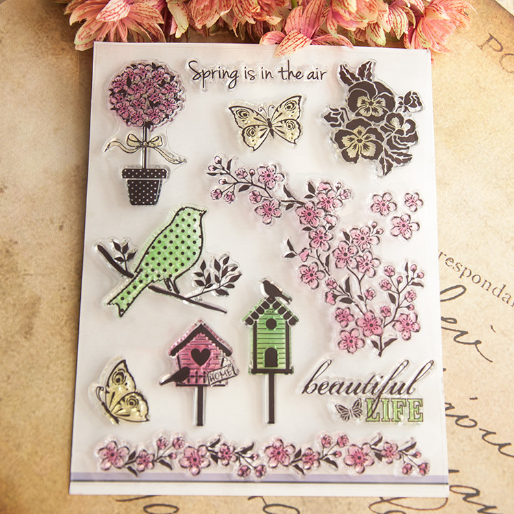 Spring Flowers Bird Butterfly Scrapbook DIY photo cards account rubber stamp clear stamp transparent stamp 14x18cm SD467