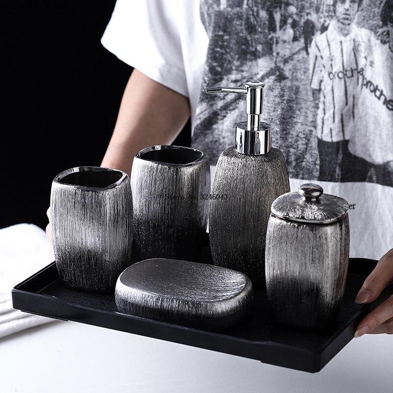 Ensemble de 6 articles de toilette en céramique argentée de style européen, plateau en mélamine, accessoires de salle de bain, décoration