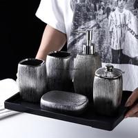 European style bathroom set of 6 electroplating silver ceramic toiletries set melamine tray bathroom accessories decoration