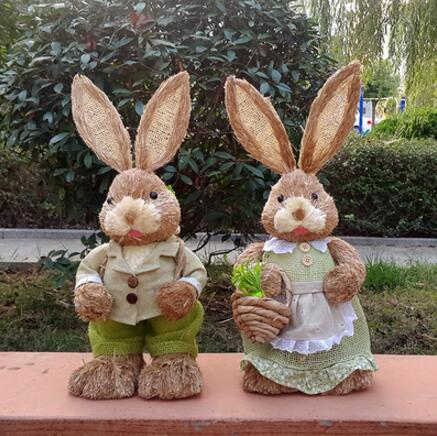 Free shipping,High 45cm,Plant natural weave straw rabbit couple Sen Department of decorative props wedding wedding gift