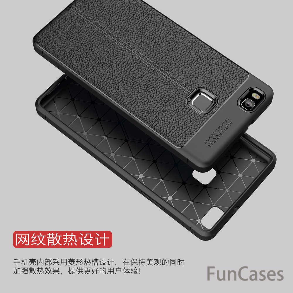 Fibra di Carbonio morbido Custodia In Silicone per Huawei P9 lite Copertura di Cuoio Coque Originale Della Copertura per Huawei P9 lite Caso 2016 TPU Armatura