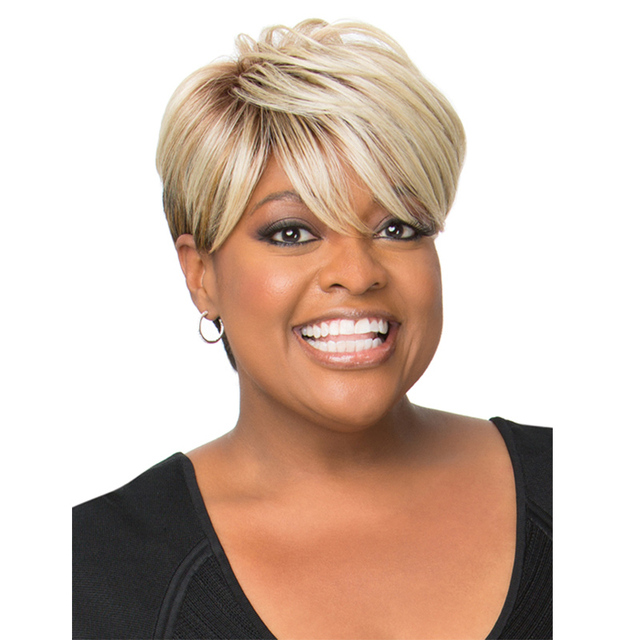 Short Curly Blonde Wig Synthetic Hair Wigs For Black White Women 6