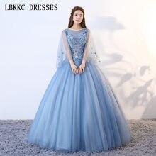 Manga longa Azul vestido de Baile Quinceanera Vestidos Colher Apliques Flores Vestidos De 15 Años Doce 16 Vestidos Ball Vestido
