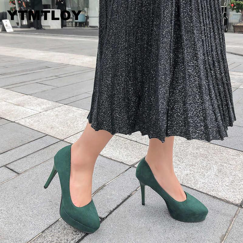 2019 Wine Red Black Fashion Spring Autumn New Women Pumps Ladies Platform Super High Heels Bridal Sexy  Womens Green Shoes 10CM