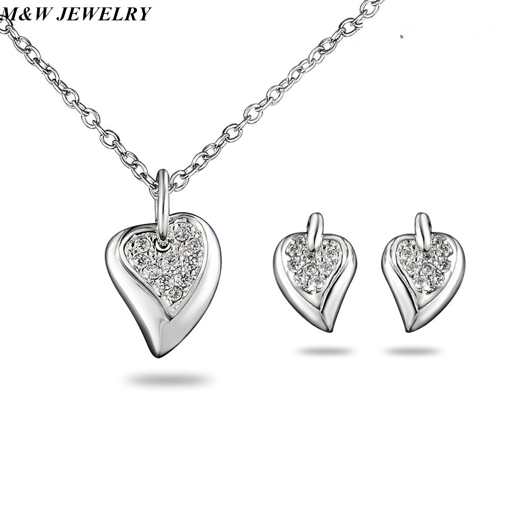 M&W JEWELRY Peach Heart Jewellery Set For Womens Jewelry Hot Sale Earrings Accessories Cheap Jewellery