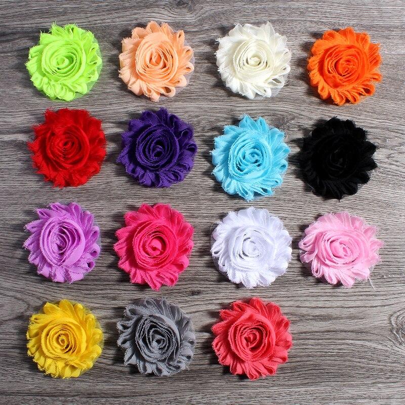 50 шт./лот 2.6 «15 цветов модные шикарные Потертый шифон цветы для детей Женские аксессуары для волос 3D с бахромой Ткань цветы для Банданы для мужчин