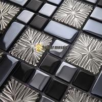 black color glass mixed snowflake silver mosaic tiles for bathroom shower tiles kitchen backsplash tiles HMEE004