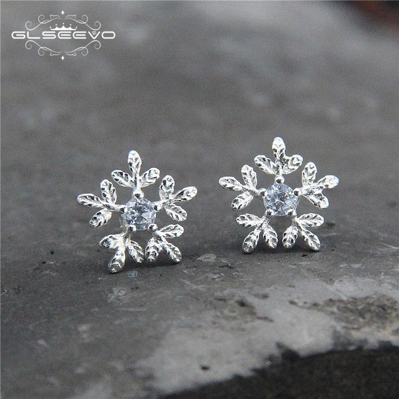 GLSEEVO S925 Срібні срібні циркони сережки - Вишукані прикраси