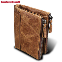 TRASSORY Mens Anti Rfid Crazy Horse Genuine Leather Luxury Bifolder Double Zipper Wallet Purse Credit Business Card Holder rfid crazy horse genuine leather men wallets credit business card holders double zipper cowhide leather wallet purse carteira