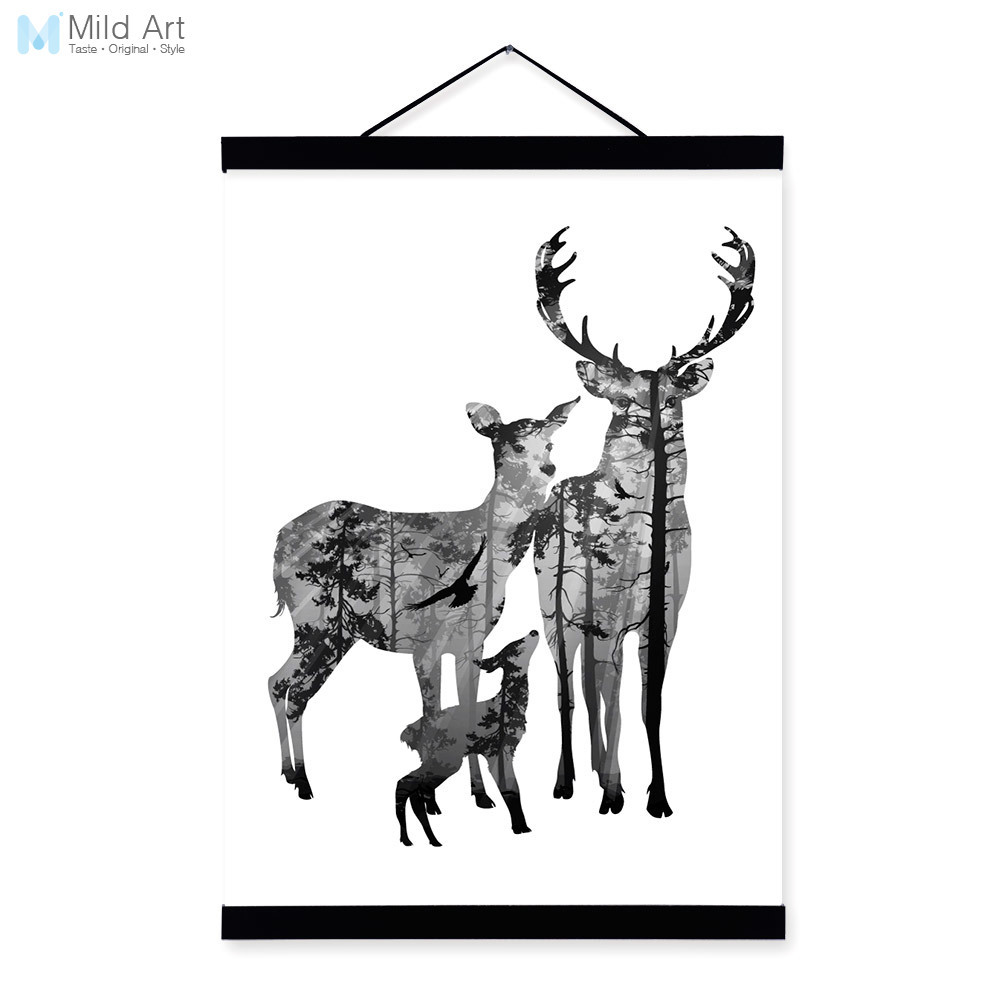 Deer Family Kids Love Black White Nordic Minimalist Animal Framed Canvas Painting Wall Art Print Picture Poster Scroll Home Deco