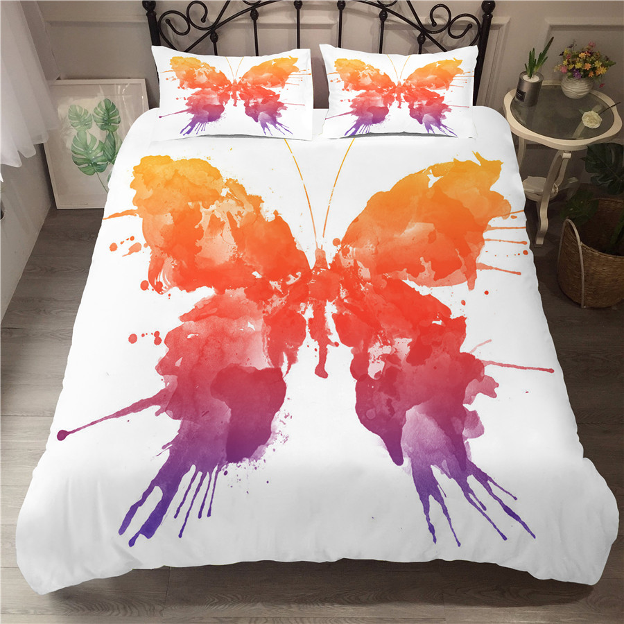 A Bedding Set 3D Printed Duvet Cover Bed Set Butterfly Home Textiles for Adults Bedclothes with Pillowcase HD09 in Bedding Sets from Home Garden