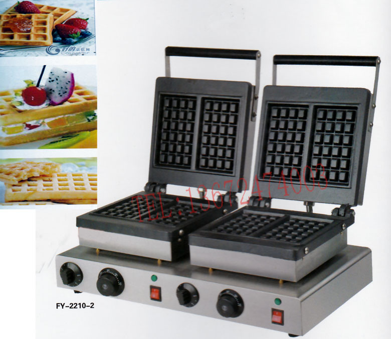 Free shipping  110v 220v commercial square waffle machine, waffle grill/ waffle oven/ Snack machine, with recipe free shipping 6 pcs dounts making machine with recipe waffle grill