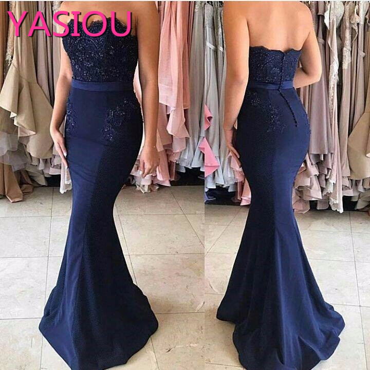 HOT 2019 new Simple Buttons Appliques Strapless Mermaid Beadings Party Occasion Formal NEW  Long Evening Dresses