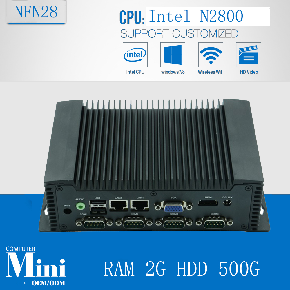 Fanless Industrial Mini PC Industrial Computer With  Atom N2800 1.86GHz  With RAM 2G HDD 500G