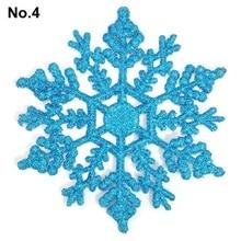 6pcs Snowflakes Christmas 10cm Plastic Glitter Snow Flake Ornaments Christmas Tree Pendant Christmas Decorations for Home 6A0070