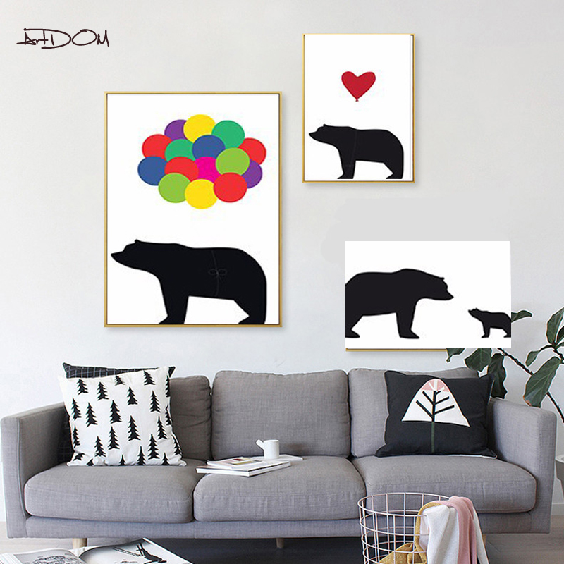 Artdom no framed bear family wall art canvas painting wall - Family pictures on living room wall ...